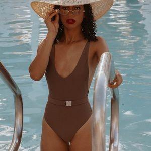 New brown one piece with belt bikini swimsuit S
